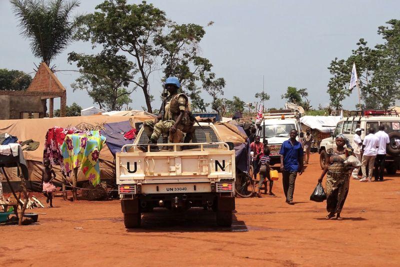U.N. peacekeepers from Gabon patrol in Bria, Central African Republic, on June 12, 2017.