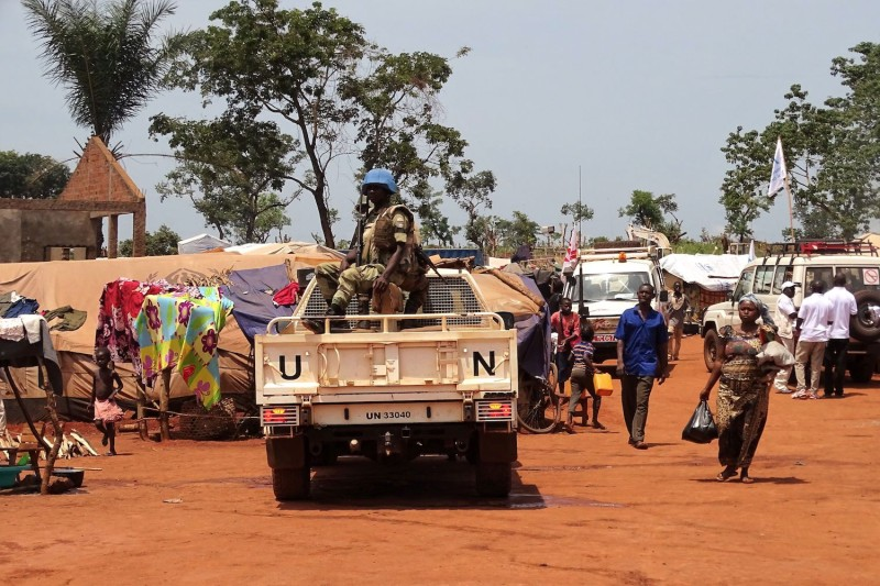 U.N. peacekeepers from Gabon patrol in Bria, Central African Republic, on June 12, 2017.