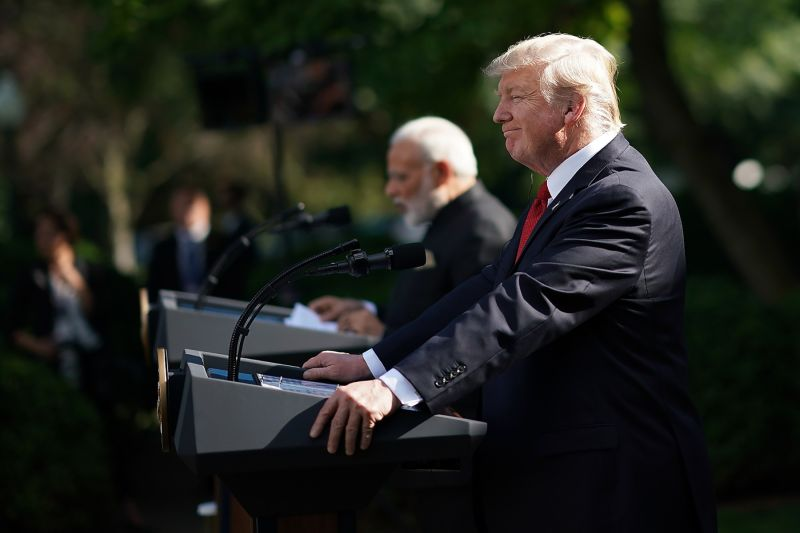 President Donald Trump and Indian Prime Minister Narendra Modi deliver joint statements at the White House on June 26, 2017. (Win McNamee/Getty Images)