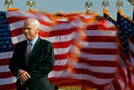 John McCain gives a speech at the Navy and Marine Corps Memorial Stadium on April 1, 2008, in Annapolis, Maryland. (Mark Wilson/Getty Images)