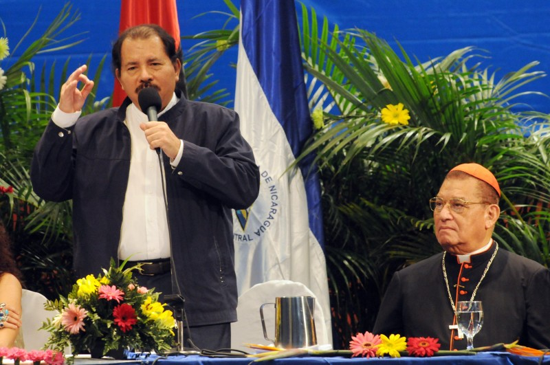Nicaragua's President Daniel Ortega (L) delivers a speech beside Cardinal Miguel Obando y Bravo (R), president of the National Commission for Verification, Reconciliation, Peace and Justice of the Sandinista government, on November 03, 2008 in Managua. (MIGUEL ALVAREZ/AFP/Getty Images)