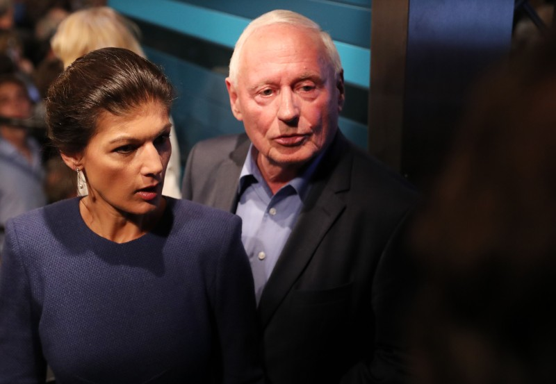 Sahra Wagenknecht, top candidate of the Left party (Die Linke) and her husband  Oskar Lafontaine arrive for an election party night on September 24, 2017 in Berlin. (JAN WOITAS/AFP/Getty Images)
