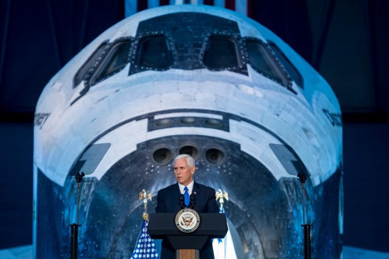 U.S. Vice President Mike Pence delivers opening remarks during the National Space Council's first meeting at the Smithsonian National Air and Space Museum's Steven F. Udvar-Hazy Center on October 5, 2017. (Photo by Joel Kowsky/NASA via Getty Images)