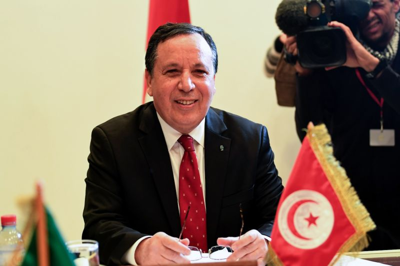 Tunisian Foreign Minister Khemaies Jhinaoui attends a meeting with his Algerian and Egyptian counterparts to discuss the Libyan conflict in Tunis on Dec. 17, 2017. (Fethi Belaid/AFP/Getty Images)