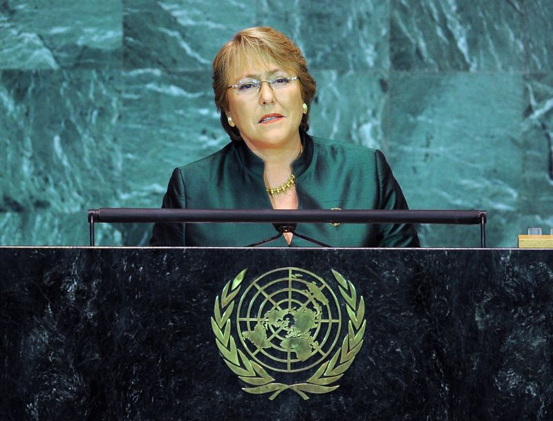 Michelle Bachelet addresses the United Nations General Assembly in New York on Sept. 23, 2009.  (Stan Honda/AFP/Getty Images)