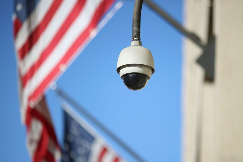 A security camera outside the FBI headquarters in Washington on Feb. 2. (Mark Wilson/Getty Images)
