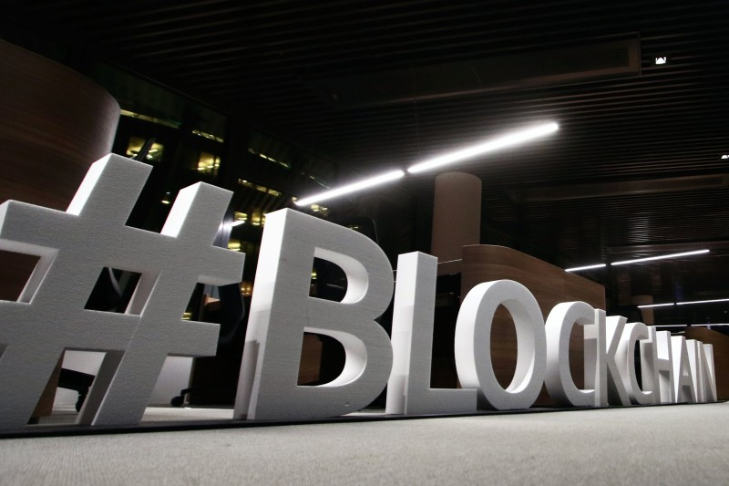 "Giant letters, reading the word ""blockchain"" are displayed at the blockchain centre, which aims at boosting start-ups, on February 7, 2018 in Lithuania's capital Vilnius. (PETRAS MALUKAS/AFP/Getty Images)"