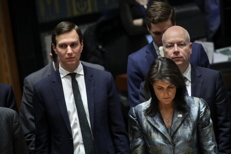 White House Senior Advisor Jared Kushner stands with U.S. Ambassador to the United Nations Nikki Haley at a U.N. Security Council meeting on Middle East issues on Feb. 20. (Drew Angerer/Getty Images)