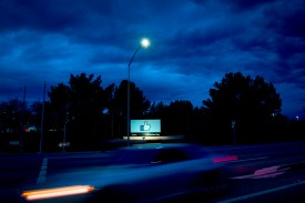A car passes by Facebook's corporate headquarters in Menlo Park, California, on March 21. (Josh Edelson/AFP/Getty Images)