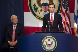 White House Senior Advisor Jared Kushner speaks at opening of the U.S. Embassy in Jerusalem on May 14. (Lior Mizrahi/Getty Images)