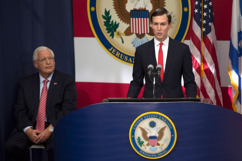 White House Senior Advisor Jared Kushner speaks at opening of the U.S. Embassy in Jerusalem on May 14. (Lior Mizrahi/Getty Images)