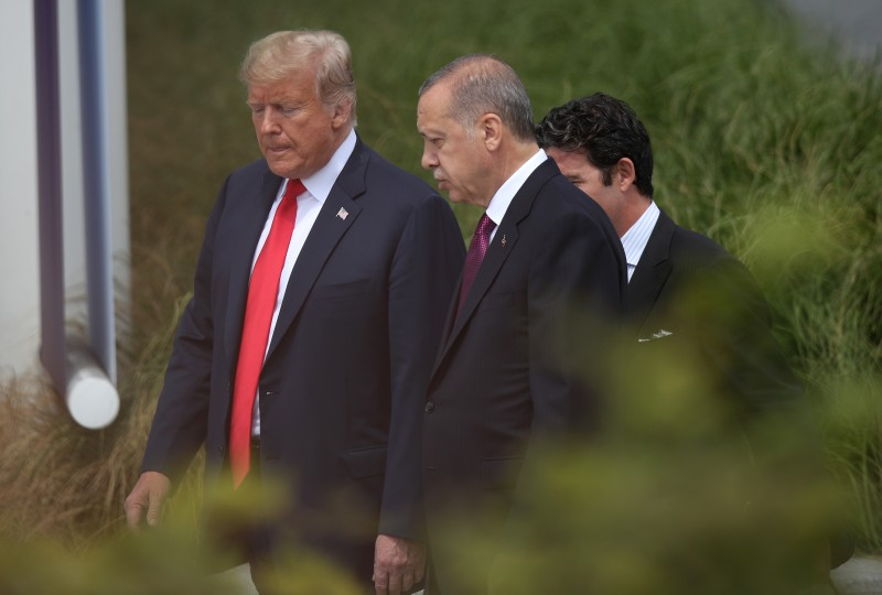 U.S. President Donald Trump and Turkish President Recep Tayyip Erdogan attend the opening ceremony at the NATO summit in Brussels, Belgium, on July 11. (Sean Gallup/Getty Images)