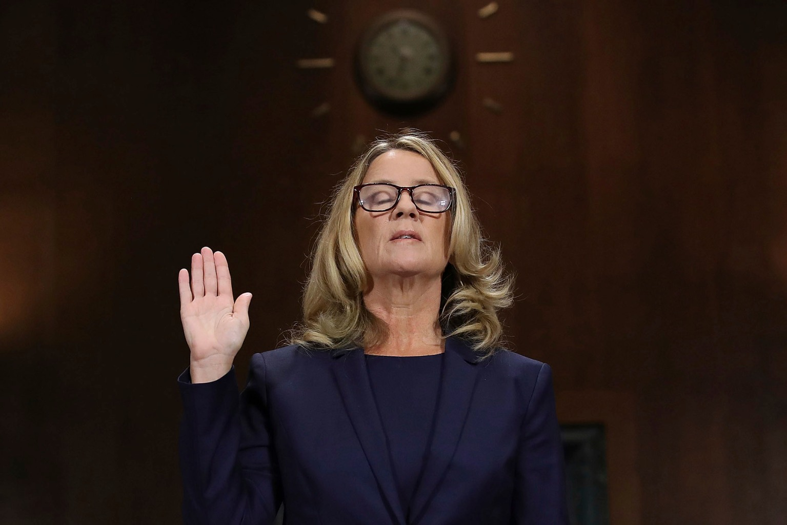 Christine Blasey Ford is sworn in before the Senate Judiciary Committee in Washington on Sept. 27. (Win McNamee/AP)