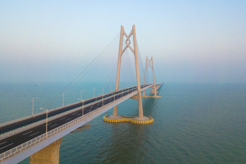An aerial view of the world's longest cross-sea bridge, the Hong Kong-Zhuhai-Macao Bridge, after the major work of the bridge was completed in Zhuhai city, south China's Guangdong province, on Dec. 31, 2017. (Imaginechina via AP Images)