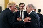 U.S. President Donald Trump (L) and White House senior adviser Jared Kushner meet with Israel Prime Minister Benjamin Netanyahu (R) at the King David Hotel May 22, 2017 in Jerusalem, Israel.