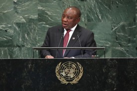 South African President  Cyril Ramaphosa addresses the United Nations General Assembly in New York on Sept. 25.
