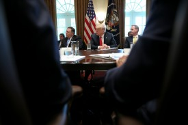 U.S. President Donald Trump, center, hosts a cabinet meeting in the White House on Aug. 16. (Contreras/Pool/Getty Images)