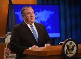 U.S. Secretary of State Mike Pompeo addresses the press during a briefing at the State Department in Washington on Aug. 16. (Andrew Caballero-Reynolds/AFP/Getty Images)