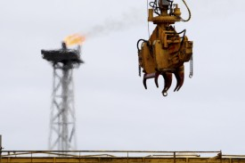 A gas flare burns on Norway's Sleipner gas platform on May 15, 2008. (Daniel Sannum-Lauten/AFP/Getty Images)