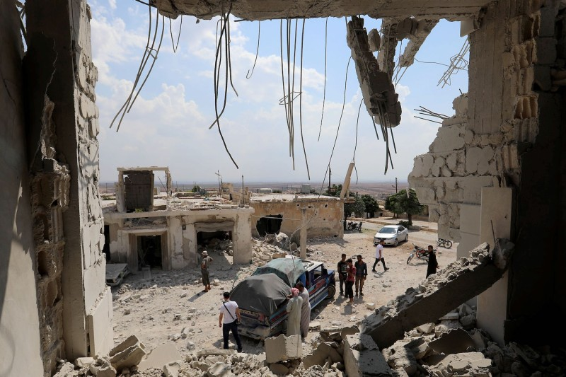 This picture shows the destruction after government forces bombed the town of Al Habit on the southern edges of the rebel-held Idlib province on September 9, 2018. OMAR HAJ KADOUR/AFP/Getty Images