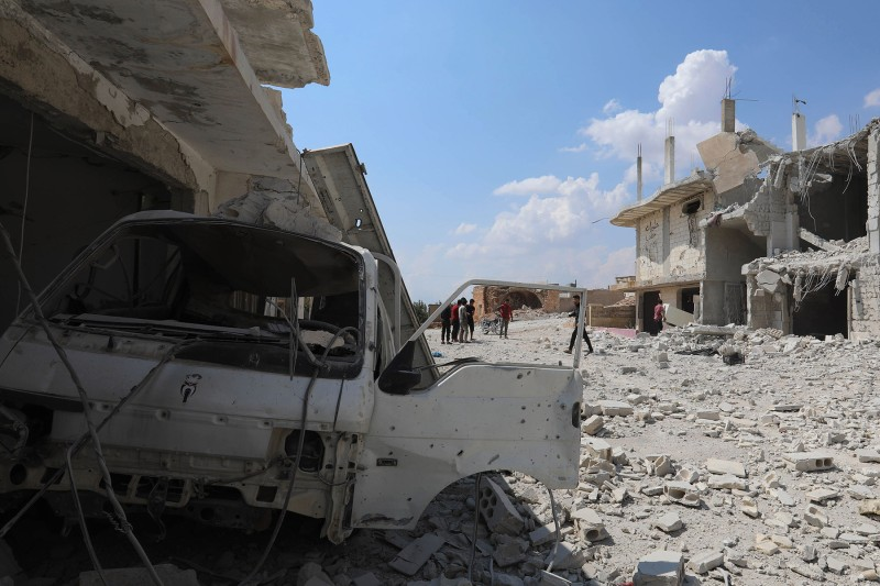 Destruction in Al Habit on the southern edges of the rebel-held Idlib province of Syria after strikes by Russian-backed government forces on Sept. 9. (Omar Haj Kadour/AFP/Getty Images)