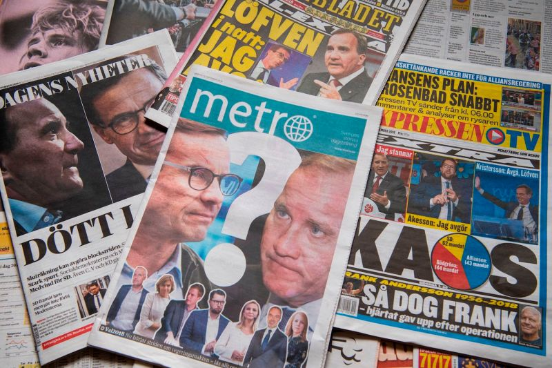 A photo taken on Sept. 10, 2018 in Stockholm shows a selection of front pages of Swedish newspapers in Stockholm a day after the general elections. (Jonathan Nackstrand/AFP/Getty Images)