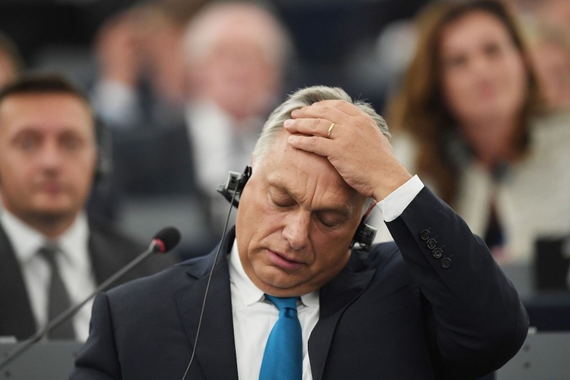 Viktor Orban gestures during a debate about Hungary as part of a plenary session at the European Parliament in Strasbourg on September 11, 2018. (Frederick Florian/AFP/Getty Images)
