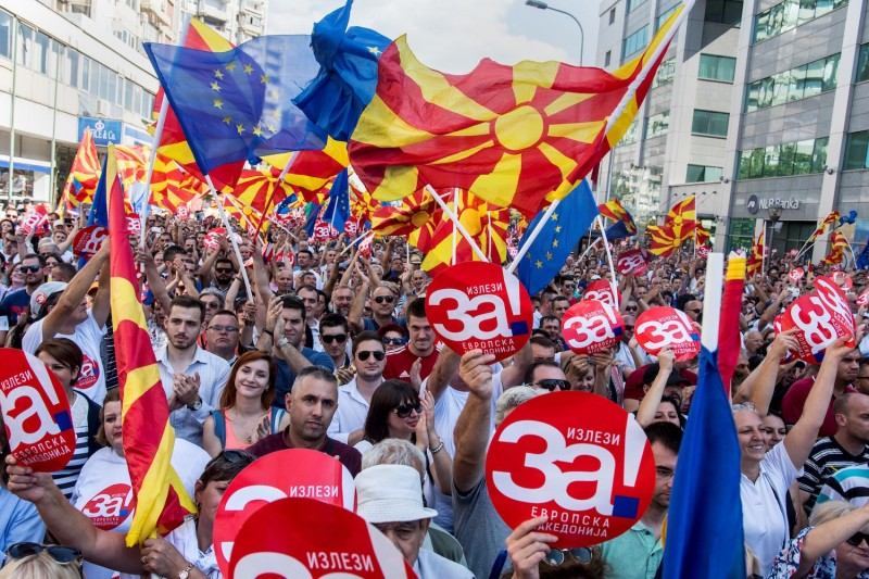 Macedonians in Skopje rally in support of changing their country's name on Sept. 16. (Robert Atanasovski/AFP/Getty Images)