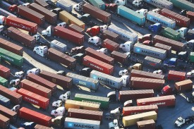 Trucks stand ready to haul shipping containers at the Port of Los Angeles, the nation's busiest container port, on Sept. 18. (Mario Tama/Getty Images)