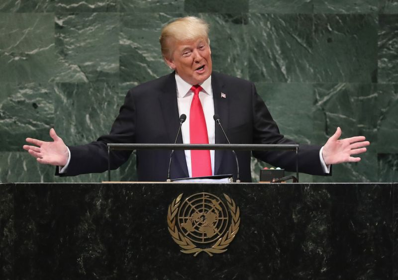U.S. President Donald Trump addresses the 73rd session of the United Nations General Assembly in New York on Sept. 25. (John Moore/Getty Images)