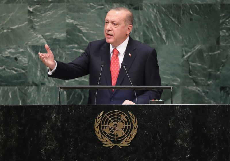 Turkish President Recep Tayyip Erdogan speaks at the U.N. General Assembly in New York City on Sept. 25. (John Moore/Getty Images)