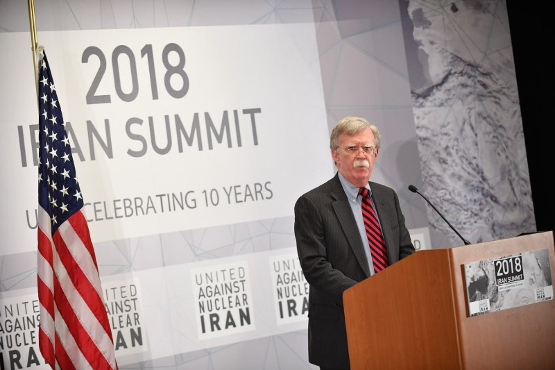 U.S. National Security Advisor John Bolton speaks at the United Against Nuclear Iran Summit in New York on Sept. 25. (Mandel Ngan/AFP/Getty Images)