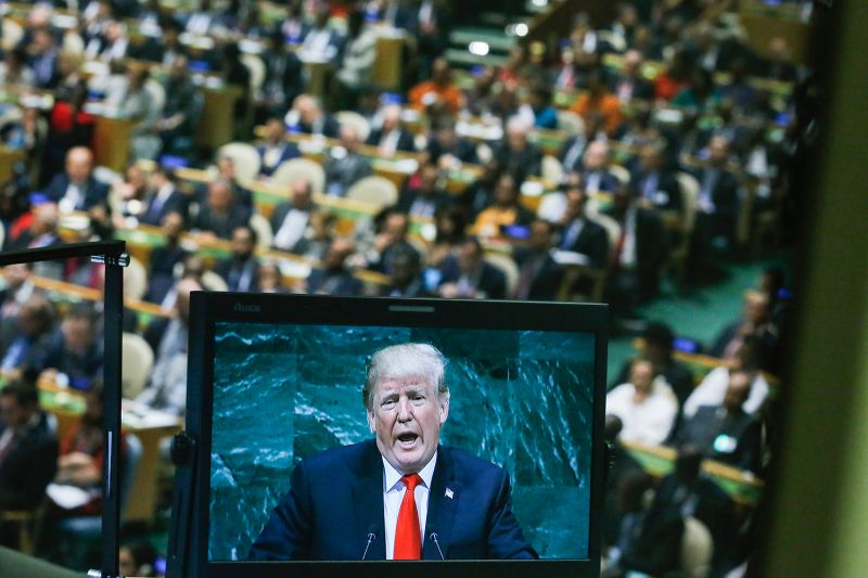 U.S. President Donald Trump on a screen as he addresses the 73rd session of the United Nations General Assembly in New York on Sept. 25. (Eduardo MunozAlvarez/VIEWpress/Corbis via Getty Images)