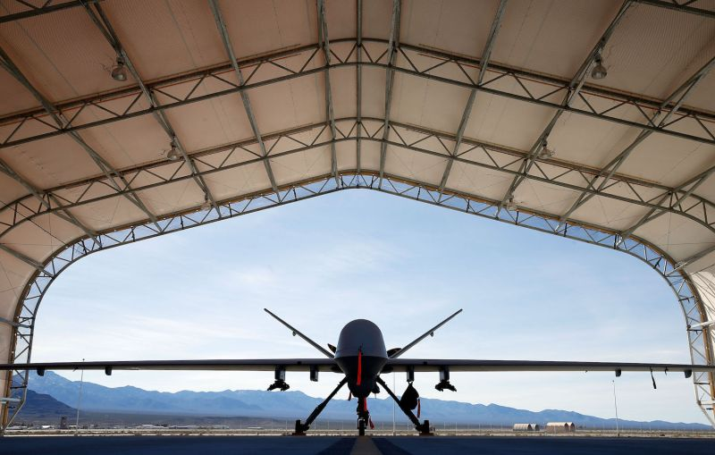 An MQ-9 Reaper drone is parked in an aircraft shelter at Creech Air Force Base on November 17, 2015, in Indian Springs, Nevada. (Photo by Isaac Brekken/Getty Images)