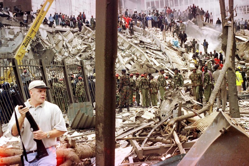 Rescuers work among the rubble after the bombing U.S. Embassy in Nairobi, Kenya on Aug. 7, 1998. (AFP/Getty Images)