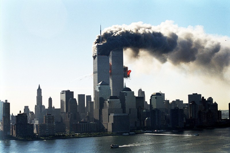 A hijacked plane is seen as it hits the second tower of the World Trade Center on Sept. 11, 2001. (Masatomo Kuriya/Corbis via Getty Images)