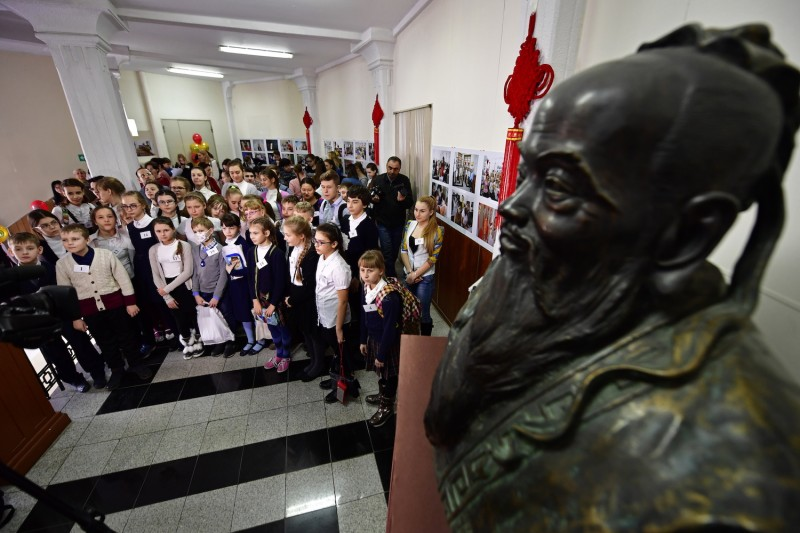 Participants arrive for the final of a Chinese language dictation contest  at the Vladivostok branch of the Confucious Institute at the Far Eastern Federal University on Feb 18, 2017. (Yuri Smityuk/TASS/ Getty Images)