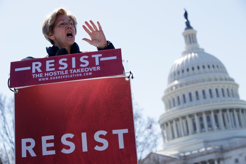 U.S. Sen. Elizabeth Warren speaks during a rally in front of the Capitol in Washington on March 22, 2017. (Alex Wong/Getty Images)
