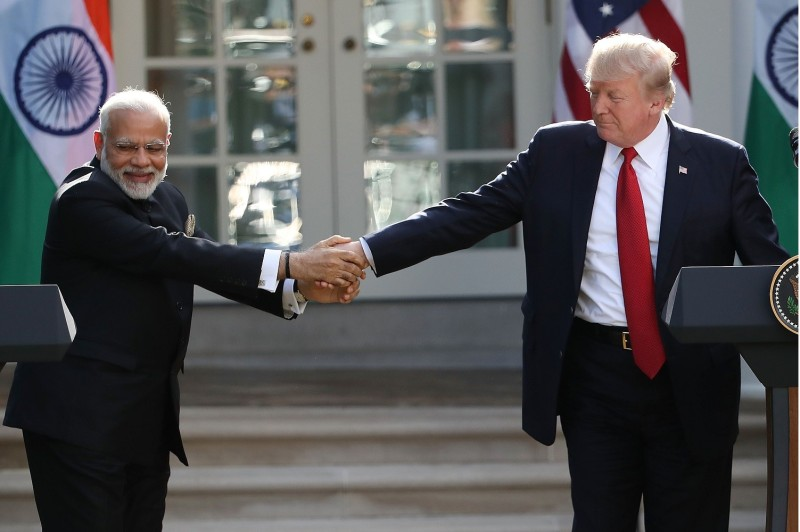 WASHINGTON, DC - JUNE 26: U.S. President Donald Trump and Indian Prime Minister Narendra Modi shake hands while delivering joint statements in the Rose Garden of the White House June 26, 2017 in Washington, DC. (Mark Wilson/Getty Image)