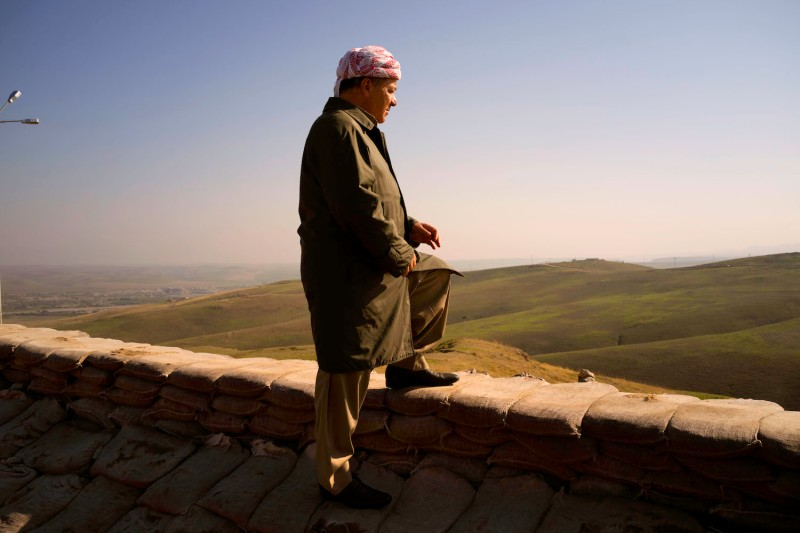Massoud Barzani, a leader of the Kurdish Democratic Party, in Iraq's Nineveh province in Nov. 2015. (Reza/Getty Images)