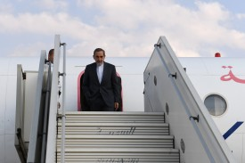 Ali Akbar Velayati, chief foreign policy advisor to Iran's supreme leader, disembarks from his plane upon his arrival in the northern Syrian city of Aleppo on November 7, 2017. (GEORGE OURFALIAN/AFP/Getty Images)