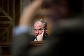 Sen. Tim Kaine (D-Va.) listens to testimony during a Senate Foreign Relations Committee hearing on Dec. 6, 2017, in Washington, D.C. (Drew Angerer/Getty Images)