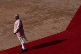 Indian Prime Minister Narendra Modi waits in front of the presidential residence in New Delhi on April 7. (Money Sharma/AFP/Getty)