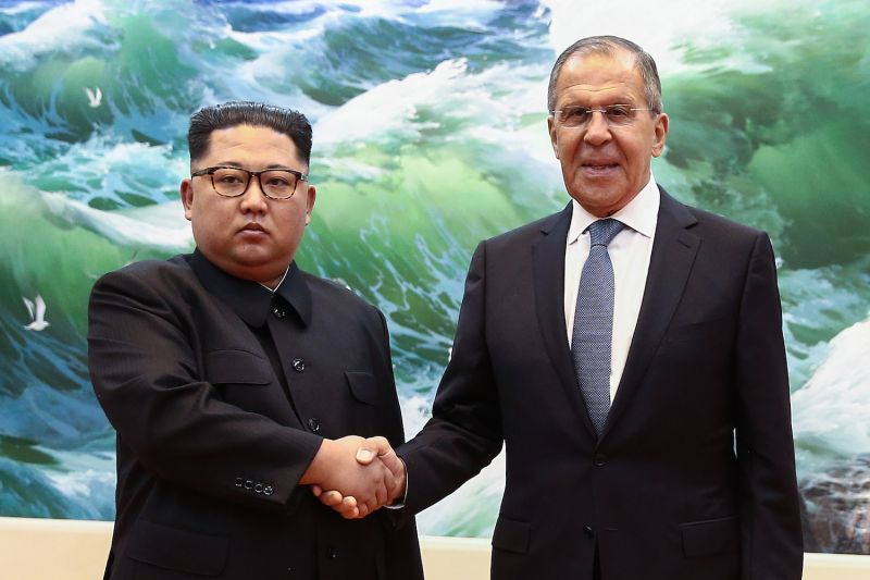 North Korean leader Kim Jong Un shakes hands with Russian Foreign Minister Sergei Lavrov during a meeting in Pyongyang, North Korea, on May 31. (Valery Sharifulin/AFP/Getty Images)