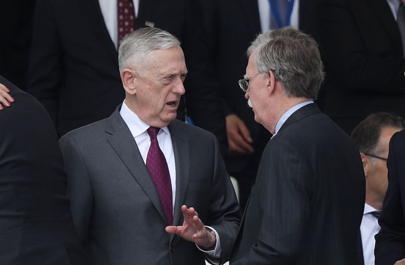 U.S. Secretary of Defense James Mattis and National Security Advisor John Bolton attend the opening ceremony at the 2018 NATO Summit at NATO headquarters in Brussels on July 11.  (Photo by Sean Gallup/Getty Images)
