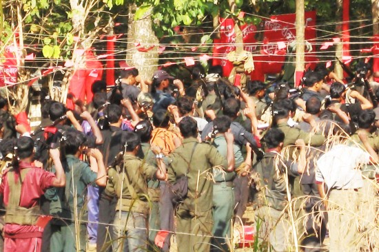 A Maoist state-level conference in a Jharkhand forest in 2010. (Alpa Shah)