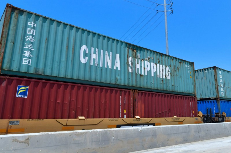 Chinese shipping containers await transportation at the Port of Long Beach in California on July 12. (Frederic J. Brown/AFP/Getty Images)