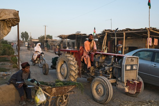 The scene on the main road of Nawa-i-Barakzai district center in Helmand province, Afghanistan, on Aug. 2. The Taliban held the area from October 2016 to July 2017.
