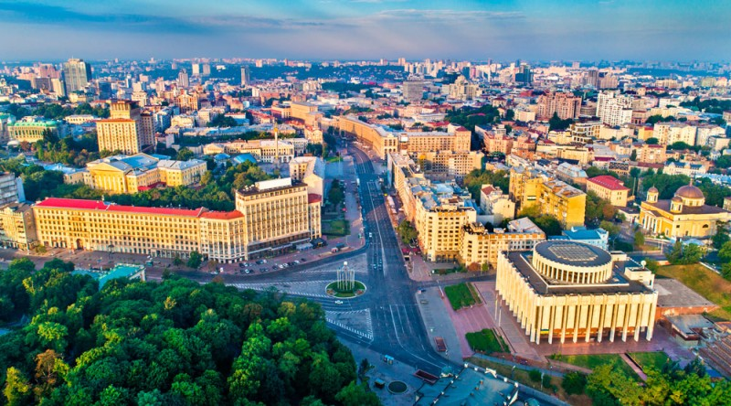Aerial view of Khreshchatyk, European Square and Ukrainian House in the city center of Kiev, the capital of Ukraine.