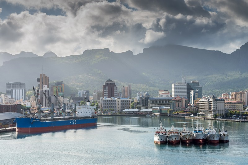 Ships in the Port Louis harbor in Mauritius on Dec. 25, 2015. (T. Vale/Getty Images)